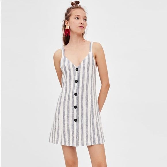 ebbabd7e Zara blue stripe summer mini dress buttons M white.  M_5baa81cfaaa5b8a7c74813ba